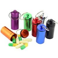 Medicine Bottle Keychain Case Container Waterproof Holder Aluminum Box Case