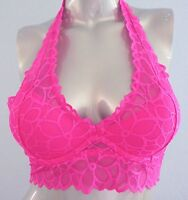 Nwt PINK Victorias Secret Bright Pink Floral Lace Push Up Halter Bralette Bra