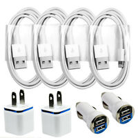 4x Sync / Charging Kit - Charge Cords + Wall & Car Chargers for iPhone 8 7 6 5
