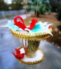 Vintage 1980's (2) Bird Feeder Christmas Ornaments Homemade Crafts by Mary