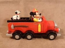 New listing Disney Mickey Mouse Fire Dept Engine #71 Pull Back Toy with Dalmatian & Siren