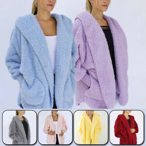 Women Plush Coat Casual Loose Hooded Thicken Cardigan Pockets Fashion Jacket New