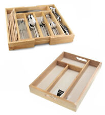 Cutlery Tray Wooden Drawer Tray Holder Utensil Organizer Kitchen 4/7 Compartment