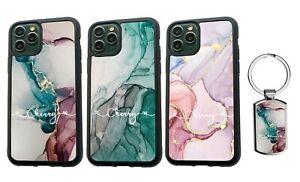 PERSONALISED Name Marble Silicone Case iPhone XS MAX 11 12 Pro Max + Keyring