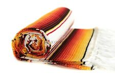 SARAPE Mexican Blankets - FIRE ORANGE WHITE - Serape Saltillo Handmade Southwest