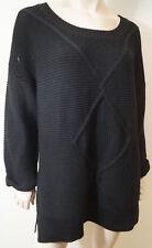 CLAUDIE PIERLOT noir 100 % laine Chunky pull tricot pull Sz:3 albums UK12 L