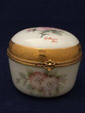 Imperia Limoges France 22K Porcelain Large Trinket Box Handpainted Flowers