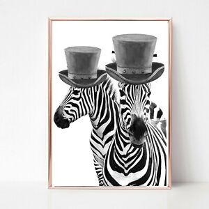 zebra print PICTURE  bowler hat WALL ART A4  unframed 87 PORTRAIT