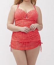 Crochet Swim Tank With Built In V Wire Balconette Bra Coral Size 42F