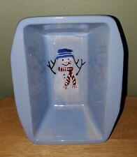 Hartstone Pottery Snowman Christmas Mini Loaf Pan Hand Painted Vintage 1989