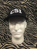 Mens CSI NWOT BALL CAP 100% Poly Adjustable Back Black & White Embroidered