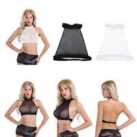Womens Sleeveless Crop Tops Backless Sheer Mesh Tank Vest Blouse Halter Neck Bra