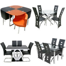 Chrome Round Glass Dining Table and 4 Faux Leather Chairs Dining Room Seat Table