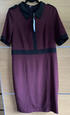 M&S Size 16 Burgundy And Black Collared Pencil Work Dress Smart Bnwt