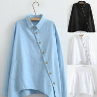 Women Solid Turn-down Collar Long Sleeve Shirt Button Loose Blouse Tops Oversize