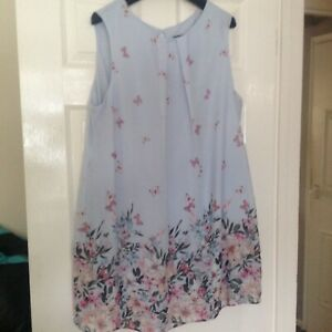 Ladies Baby Blue butterfly print Long top/short dress size 20