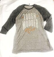 WOMENS TOUGH MUDDER BLEED ORANGE RAGLAN T- SHIRT 3/4 SLEEVE TEE COTTON