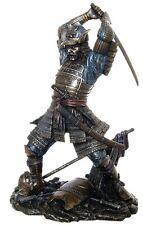 "NEW! 10"" Samurai in Battle Combat Sword Cast Bronze Plate Statue Figurine 6148"