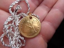 "Necklace Old 1877 Genuine Quarter Gold Plated  with 24""  Twist Style chain"