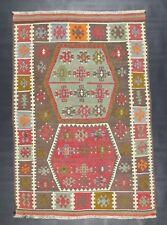 "Turkish Alawi Kilim Rug from Kirsehir Anatolia Wool 4""76' X 3""28'"