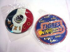 2 Tigres Rear Car Mirror Hang Deco Disc CD Shape Mexico Flag Futbol Soccer NEW