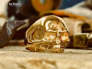 EZI ZINO WILLIE SKULL biker outlaw RING SOLID 14K YELLOW GOLD  Authenticity