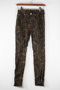 7 For All Mankind Womens Size 26 XS Black Brown Pants Animal Print Skinny Jeans