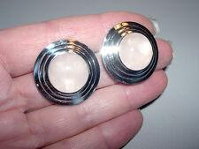 """Bold Sterling Silver~Rose Quartz Stepped Frame Omega Earrings~1"""" Diameter~9G"""