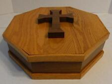 VTG OCTAGON SHAPED WOOD BOX WITH CROSS ON LID JEWELRY DECORATIVE STORAGE BOX