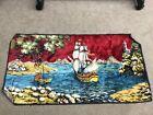 VTG SAILBOAT oriental sceneRug/Wall hanging Tapestry Original 37x18 velvet OCEAN