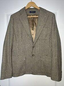 Polo Ralph Lauren Women's Tweed Style Check Jacket Blazer  100% Silk Size UK 12