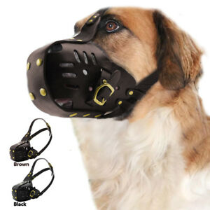 Large Leather Dog Muzzle for Pitbull Adjustable German Shepherd Secure Basket