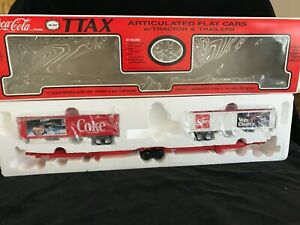 K-Line 1991 Coca Cola Articulated Flat Cars with Tractor and Trailers 3 Units #K