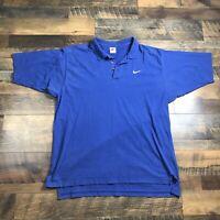Mens Vintage Nike Polo Shirt Size XL Swoosh Logo Short Sleeve Cotton 90s Blue