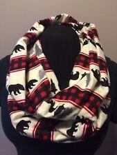 Woodland Black Bear Red Buffalo Plaid Cotton Flannel Infinity Scarf
