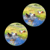 2 HORSE CREEK CROSSING REFRIGERATOR MAGNETS 31064 button farm western magnet