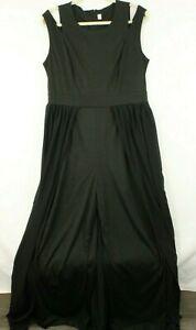 Women's Double Strap Back Zipper Over Skirt Black Palazzo Romper Sz Large NWOT