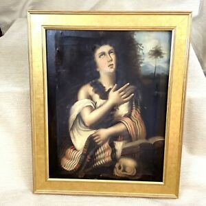 Antique 19th Century Oil Painting Penitent Mary Magdalene Titian Renaissance