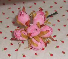 Pink millinery Vintage style 6 silk Rose Bud fabric flowers Alexander dolls Htf