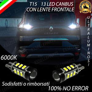 COPPIA LAMPADE RETROMARCIA 13 LED T15 CANBUS RENAULT ESPACE 5 NO AVARIA