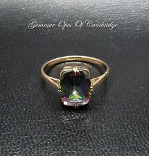 9ct Gold Emerald cut Mystic Topaz Ring Size O 1/2 2.2g