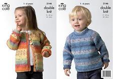 King Cole 3146 Knitting Pattern Childs Sweater & Cardigan in Splash DK