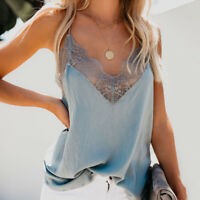 Women Sexy V-Neck Lace Vest Sleeveless Tank Blouse Summer Cami Camisole Tank Top