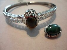 """Bangle in Stainless-African Malachite, Tigers Eye Interchangable Oval Beads-7.5"""""""