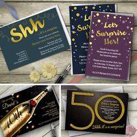 Personalised Surprise Party Invitations Birthday Invites Free Envelopes