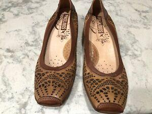 Pikolinos Gandia Perforated Brown Leather Cuero Elastic Pump - Size 41/ 10 1/2