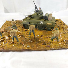 1.35 SCALE BATTLEFIELD DIARAMA MODEL WW 2.KIT BUILT  M8 GREYHOUND AND TROOPS