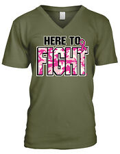 Here To Fight Pink Camo Ribbon Breast Cancer Awareness Month Mens V-neck T-shirt