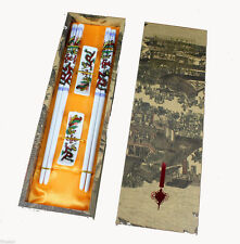 2Pairs Chinese Vintage Porcelain Dragon&phoenix Chopsticks&Support With Gift Box