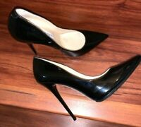"JIMMY CHOO ""ANOUK 120 "" BLACK PATENT LEATHER POINTED TOE STILETTO PUMPS, 41"